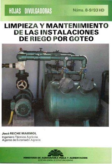 limpieza y mantenimiento de las instalaciones de riego por goteo