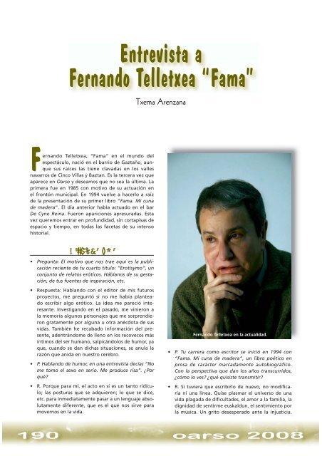 "Entrevista A Fernando Telletxea ""Fama"" - Errenteria"