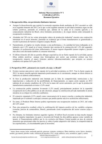 Informe Macro 1, Empiria - Infobae.com