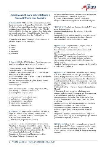 Exercícios de História sobre Reforma e Contra ... - Projeto Medicina