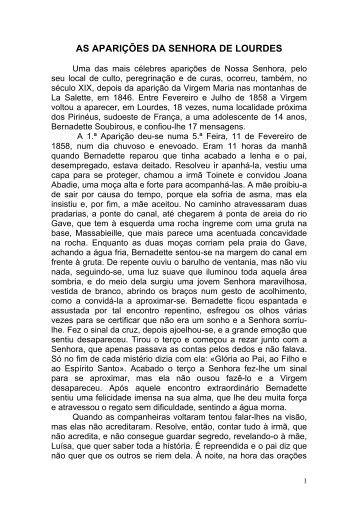 AS APARIÇÕES DA SENHORA DE LOURDES