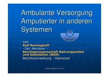 Ambulante Versorgung Amputierter in anderen Systemen
