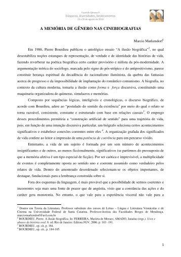 A MEMÓRIA DE GÊNERO NAS CINEBIOGRAFIAS - Fazendo ...