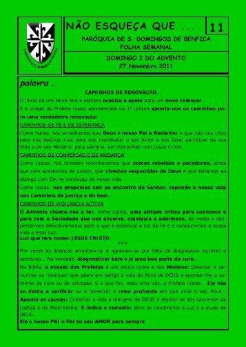 Domingo I do Advento - Paróquia São Domingos de Benfica