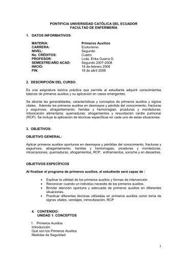 Primeros Auxilios y Campismo - Pontificia Universidad Católica del ...