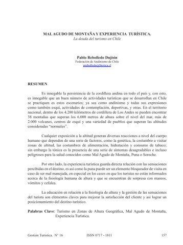 La deuda del turismo en Chile - Revistas Electrónicas UACh