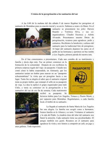 Crónica de la peregrinación a los santuarios del ... - Schoenstatt Chile