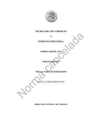 secretaria de comercio y fomento industrial norma mexicana nmx-w ...