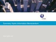 Summary Hydro Information Memorandum