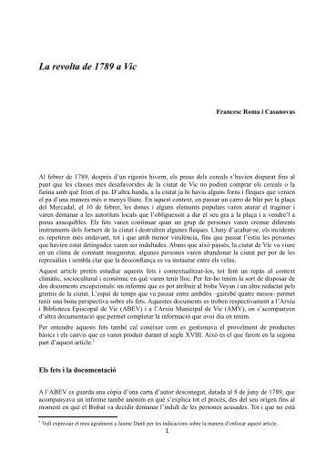 La revolta de 1789 a Vic - Francesc Roma i Casanovas