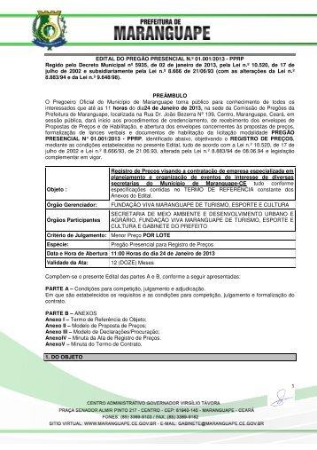 Edital e Anexo Pregão 01.001.2013SRP - TCM-CE