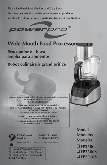 Wide-Mouth Food Processor - Applica Use and Care Manuals