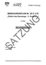 BEBAUUNGSPLAN Nr. 25 C–2.Ä BEGRÜNDUNG - Alzey