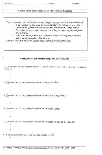 Cuestionario para alumnado sobre maltrato. Técnica de nominación