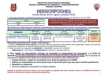 CALENDARIO DE REINSCRIPCIONES - Autoriawcm.ipn.mx