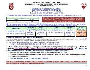 CALENDARIO DE REINSCRIPCIONES - Inicio