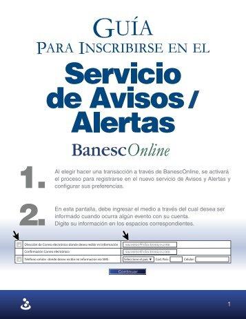Módulo de Avisos / Alertas por BanescOnline - Banesco Panamá