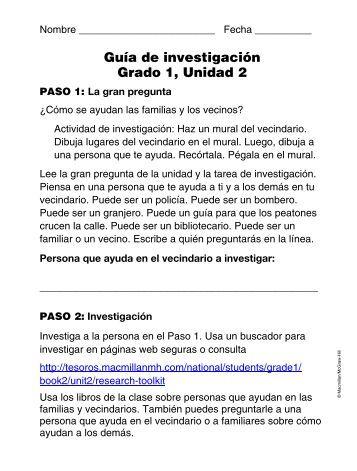 Guía de investigación Grado 1, Unidad 2 - McGraw-Hill - Macmillan ...