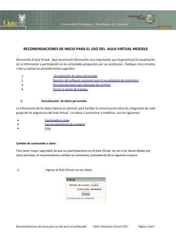 Recomendaciones de Inicio - Educación virtual Uptc