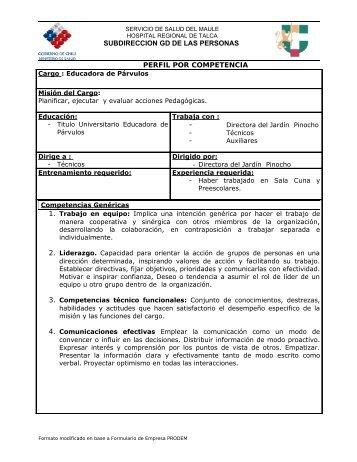 perfiles de cargos basados en competencias - Hospital de Talca