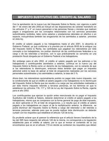 IMPUESTO SUSTITUTIVO DEL CREDITO AL SALARIO - Indetec