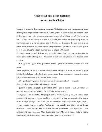 Cuento: El caso de un bachiller Autor: Antón Chéjov - Confiar