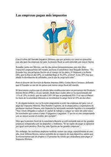 Las empresas pagan más impuestos (El Comercio ... - AHK Ecuador