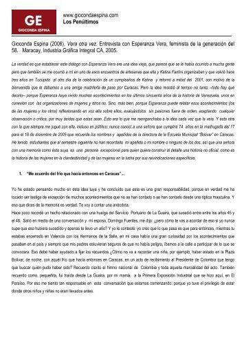 Gioconda Espina (2006). Vera otra vez. Entrevista con Esperanza ...