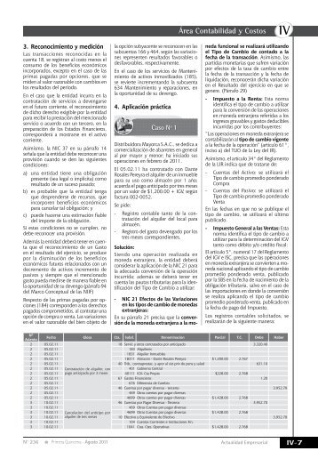 Área Contabilidad y Costos - Revista Actualidad Empresarial