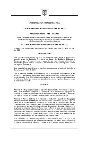 Acuerdo 414-Licencias Maternidad