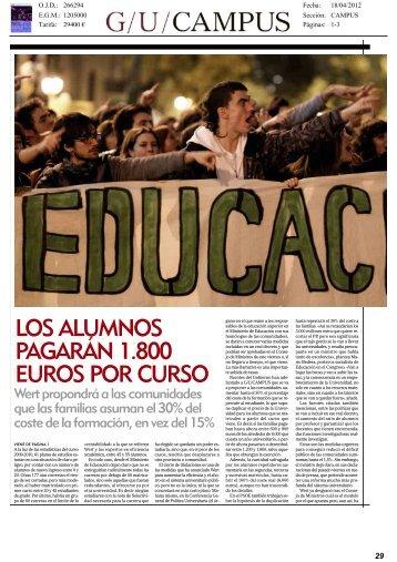 LOS ALUMNOS PAGARÁN 1.800 EUROS POR CURSO - CRUE