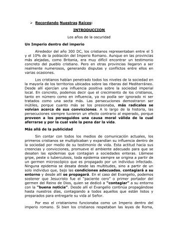Recordando Nuestras Raíces - Federación Centro Cristiano para ...