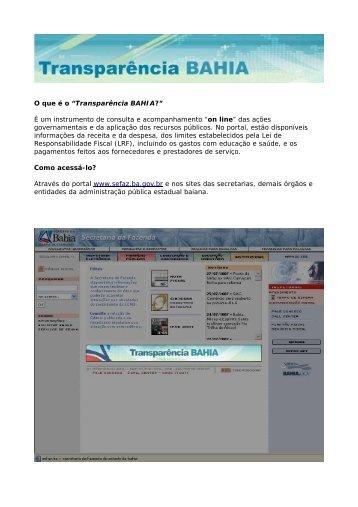 Passo-a-Passo - Transparência Bahia - Governo da Bahia