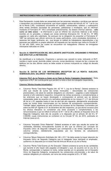 instrucciones para la confección de la declaración jurada