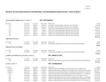 Facturas pagadas a proveedores - Zapotlanejo