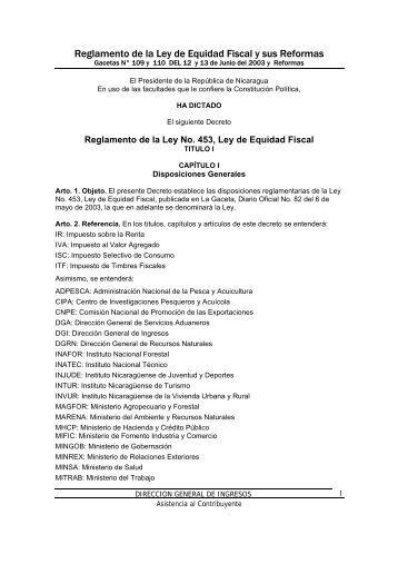 Reglamento de la Ley de Equidad Fiscal y sus Reformas