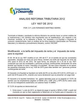 ANALISIS REFORMA TRIBUTARIA 2012 LEY 1607 DE ... - ADECUM