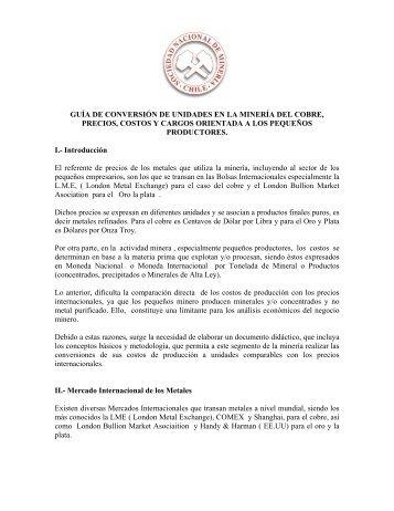 GUÍA DE CONVERSIÓN DE UNIDADES EN LA MINERÍA ... - Sonami
