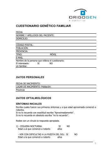 CUESTIONARIO GENÉTICO FAMILIAR - OrigoGEN