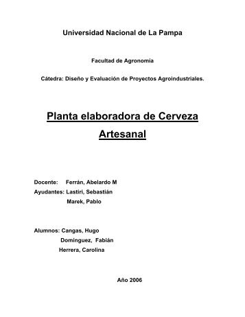 Planta Elaboradora de Cerveza Artesanal-Cangas, Herrera ...