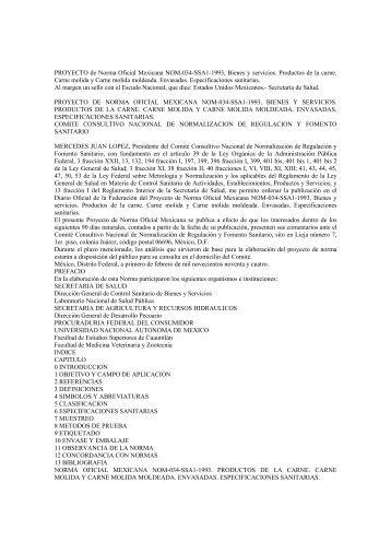 PROYECTO de Norma Oficial Mexicana NOM-034-SSA1-1993 ...