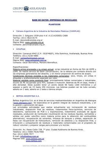 BASE DE DATOS EMPRESAS DE RECICLADO PLASTICOS ...