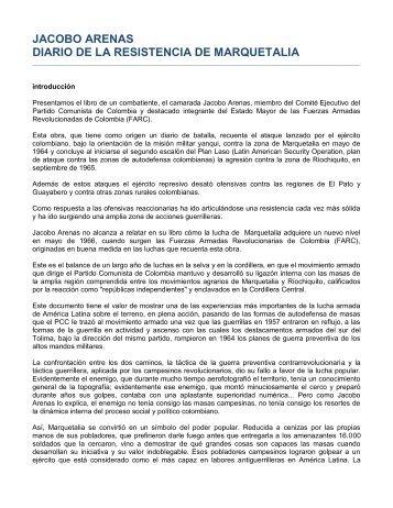 JACOBO ARENAS DIARIO DE LA RESISTENCIA DE MARQUETALIA