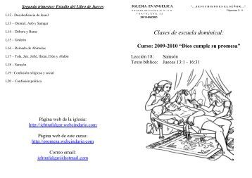 Clases de escuela dominical: - Curso 2009-2010