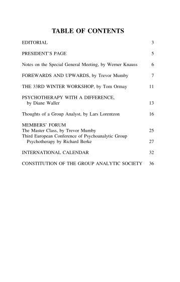 Contexts 27 Dockie..Contents .. Page1 - Group Analytic Society