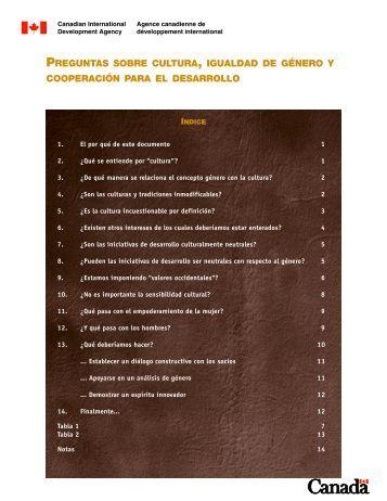 preguntas sobre cultura, igualdad de género y cooperación ... - ACDI