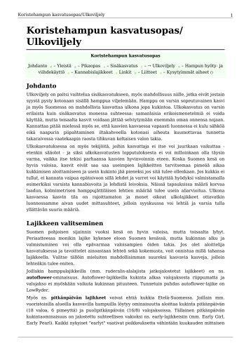 Koristehampun kasvatusopas/ Ulkoviljely - paraZite