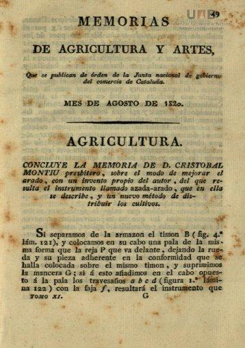 MEMORIAS DE AGRICULTURA Y ARTES, AGRICULTURA.
