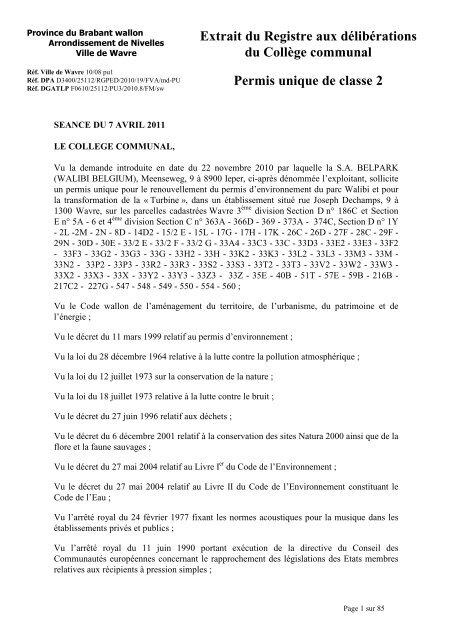 Permis Walibi Ville De Wavre Le Site Officiel