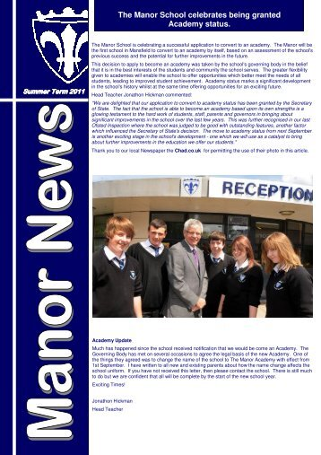 Newsletter Summer 2011 - The Manor School